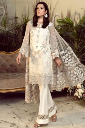 Pakistani Pant Style Suit White Color With Chiffon Fabric