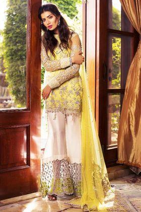 Pakistani Salwar Kameez Butterfly Net fabric In Yellow Color