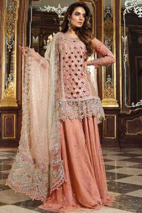 Pakistani Style Peach Heavy Net Sharara Salwar Suit