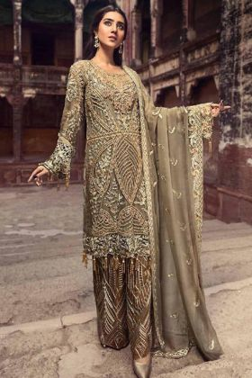 Pakistani Suit Dark Brown Net Fabric With Embroidered Work