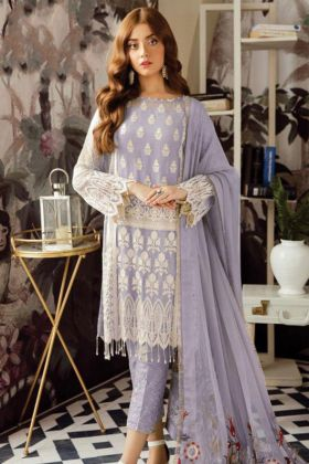 Pakistani Suit Heavy Georgette Lavender Color