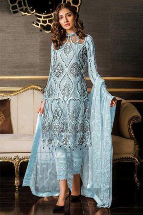Pakistani Suits Heavy Net Sky Blue Color