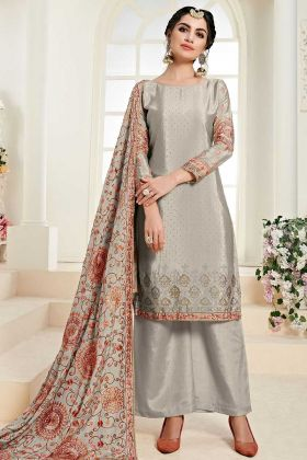 Palazzo Suit Chinon Fabric Grey Color