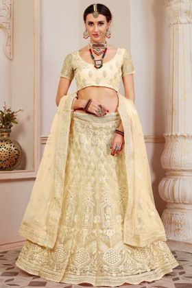 Pale Yellow Lehenga Choli In Resham Embroidered