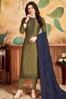 Pandora Silk Churidar Salwar Suit Olive Green Color