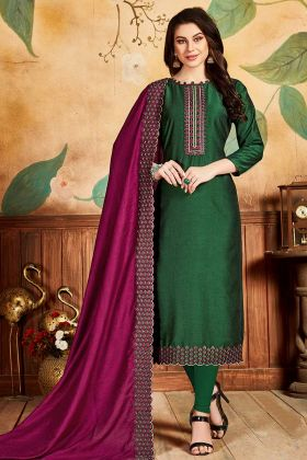Pandora Silk Dark Green Churidar Neck Designs