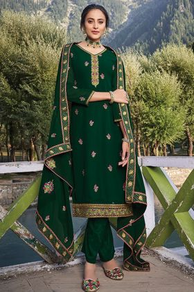 Pant Style Heavy Faux Georgette Green Color Stitched Salwar Suit