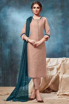 Pant Style Designer Suit Dusty Peach Color Viscose Fabric In HandWork