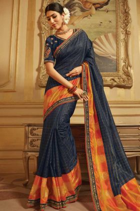 Paper Silk Greyish Blue New Model Saree With Dupion Blouse