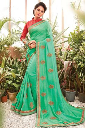 Paris Green Color Chanderi Silk Saree For Special Wedding