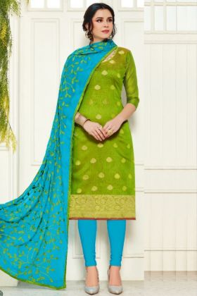 Parrot Color Charming Dress Material Collection In Banarasi Silk Fabric