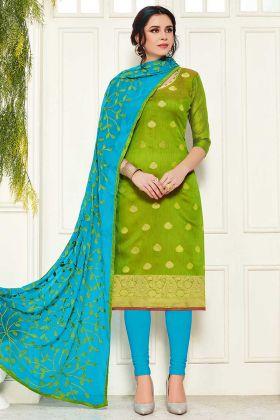 Parrot Green Banarasi Silk Latest Salwar Suit Design