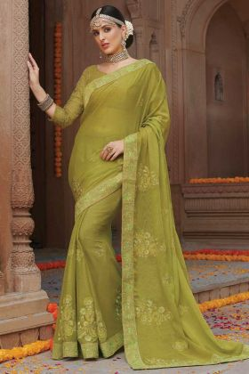 Parrot Green Color Chiffon Sequence Work Saree Online