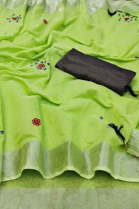 Parrot Green Color Linen Cotton Pretty Looking Saree