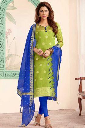 Parrot Green Art Silk Straight Salwar Kameez