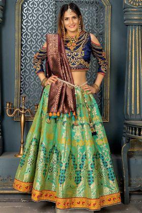 Parrot Green Color Banarasi Silk Lehenga Choli With Resham Work
