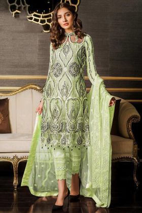 Parrot Green Heavy Net Pakistani Suits Online