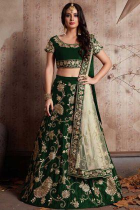 Party Wear Green Velvet Silk Lehenga With Zari Embroidery