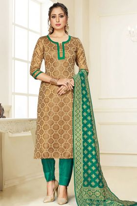 Party Collection Beige Color Salwar Suit In Cotton Silk