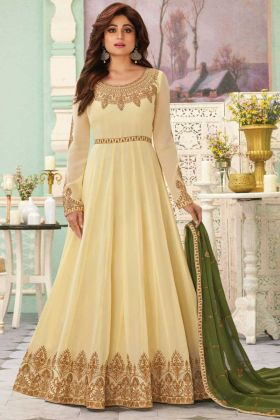 Party Collection Latest Cream Color Real Georgette Anarkali Suit