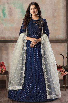 Party Collection Navy Blue Color Tafeta Butti Readymade Gown Suit