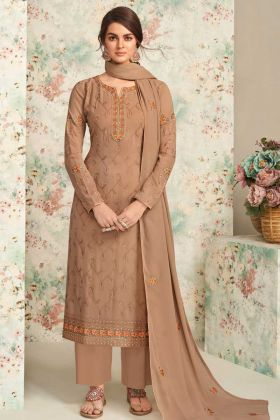 Party Collection Real Georgette Light Brown Plazzo Suit