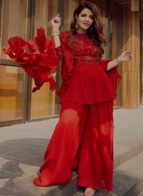 Party Special Red Palazzo With Top