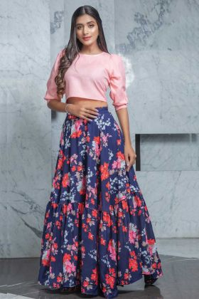 Party Style Pink Color Top With Crepe Navy Blue Skirt