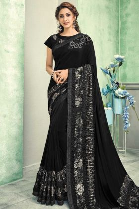 Party Wear Black Lycra Saree With Raw Silk Blouse