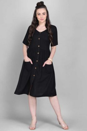 Party Wear Black Rayon Short Kurti In Digital Printed Work