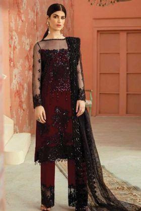 Party Wear Butterfly Net Maroon Black Pakistani Style Plazzo Suit