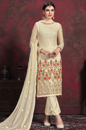 Party Wear Cream Top With Cream Bottom Salwar Suit