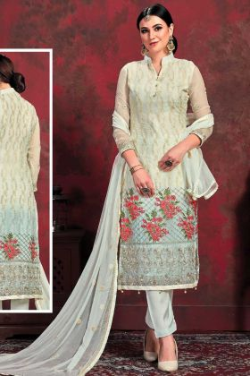 Party Wear Cream Top With Off White Bottom Salwar Suit