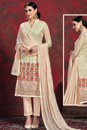 Party Wear Cream Top With Peach Bottom Salwar Suit