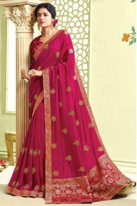 Party Wear Dark Pink Art Silk Saree