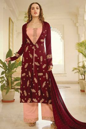 Party Wear Designer Peach Maroon Plazzo Style Salwar Suit