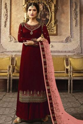 Party Wear Designer Satin Maroon Plazzo Suit Diwali