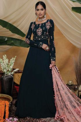 Party Wear Diamond Georgette Dark Steel Green Gown