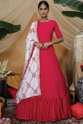 Party Wear Diamond Georgette Rani Color Gown