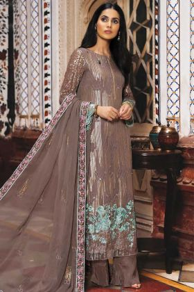 Party Wear Georgette Brown Pakistani Style Suit