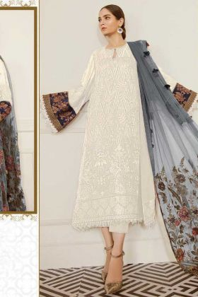 Party Wear Georgette White Pakistani Suit For Wedding