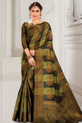 Party Wear Green And Black Cotton Silk Weaving Saree