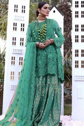 Party Wear Green Color Designer Sharara Suit