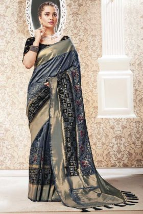 Party Wear Grey Color Banarasi Pure Silk Saree