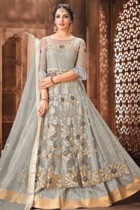 Party Wear Grey Color Net Fabric Embroidery Suit