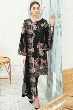 Party Wear Heavy Georgette Pakistani Black Pakistani Style Suit