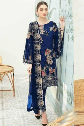 Party Wear Heavy Georgette Pakistani Blue Pakistani Style Suit