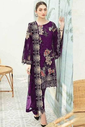 Party Wear Heavy Georgette Pakistani Violet Pakistani Style Suit