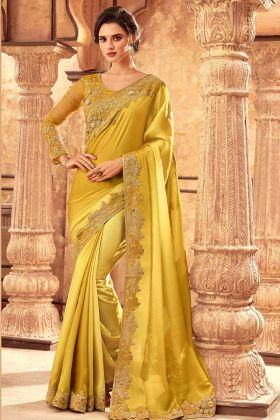 Party Wear Highlight Silk Fancy Saree Design Lemon Color