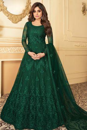 Party Wear Latest Designer Green Butterfly Net Anarkali Suit